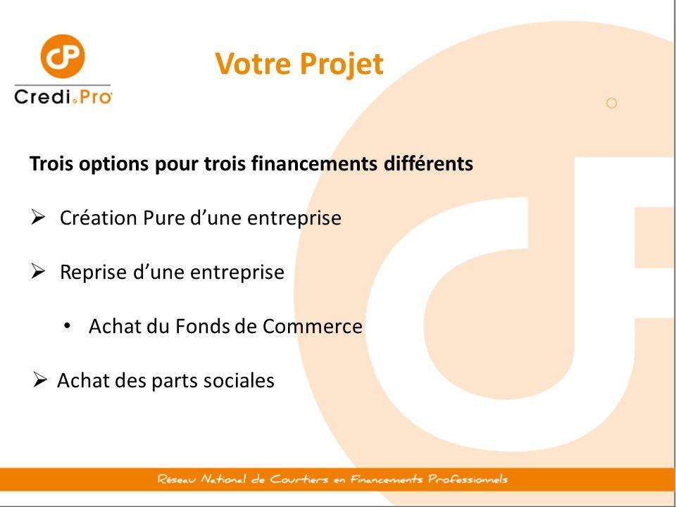 Votre Projet Trois options pour trois financements différents  Création Pure d'une entreprise  Reprise d'une entreprise Achat du Fonds de Commerce 