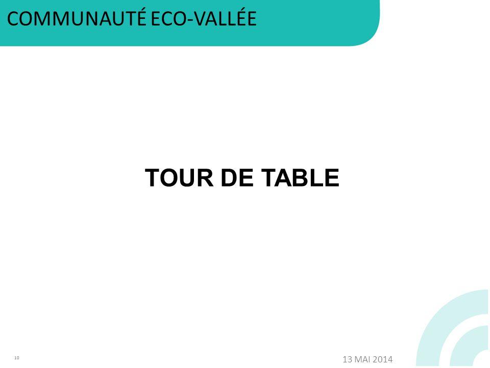 TOUR DE TABLE 10 COMMUNAUTÉ ECO-VALLÉE 13 MAI 2014