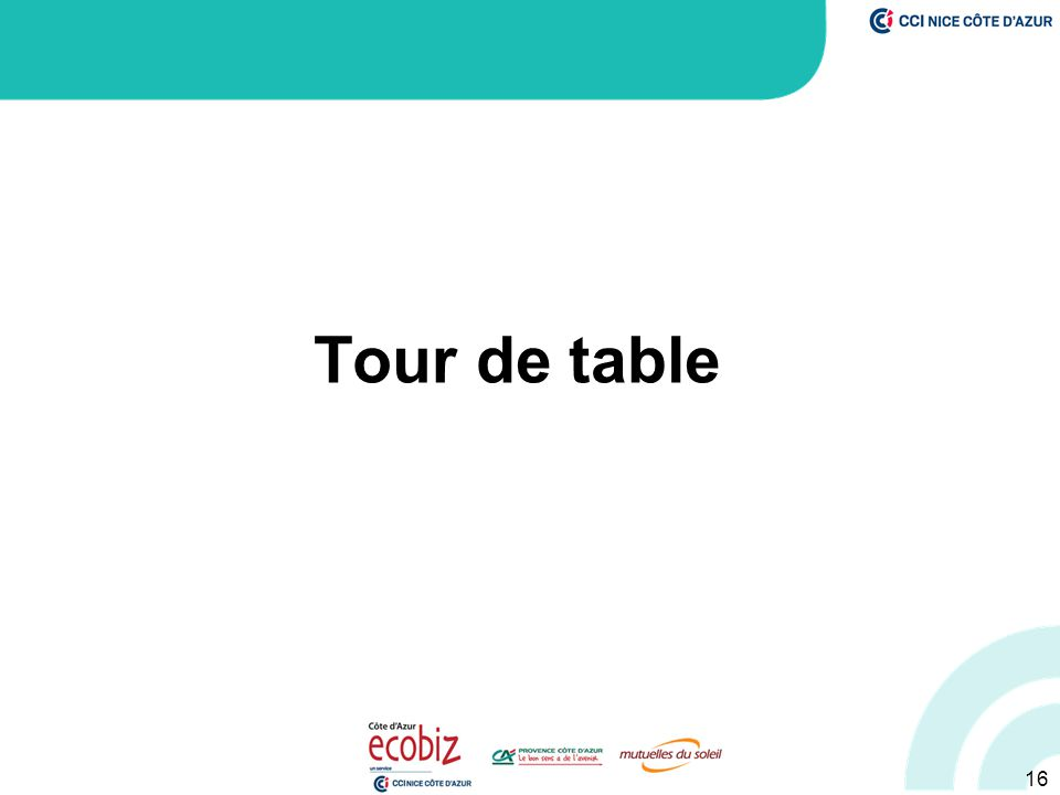Tour de table 16