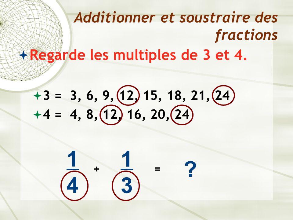  Regarde les multiples de 3 et 4.  3 = 3, 6, 9, 12, 15, 18, 21, 24  4 = 4, 8, 12, 16, 20, 24 Additionner et soustraire des fractions 1414 + 1313 ?