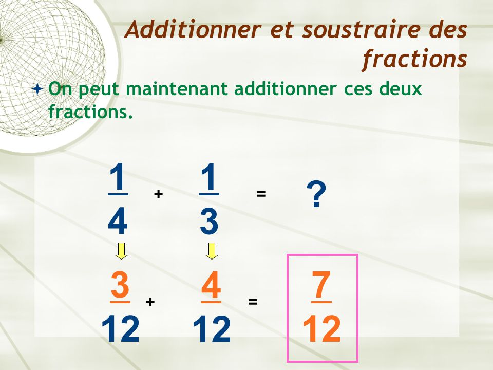  On peut maintenant additionner ces deux fractions. Additionner et soustraire des fractions 1414 + 1313 ? = 3 12 + 4 12 = 7 12