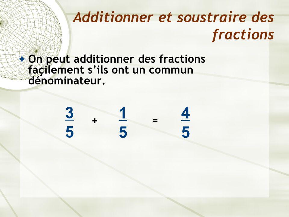  On peut aussi additionner des fractions qui n'ont pas un commun dénominateur en utilisant des fractions équivalentes pour déterminer le dénominateur commun.