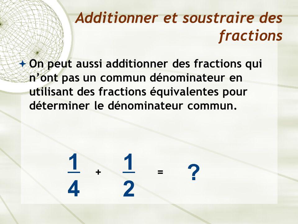  On peut aussi additionner des fractions qui n'ont pas un commun dénominateur en utilisant des fractions équivalentes pour déterminer le dénominateur