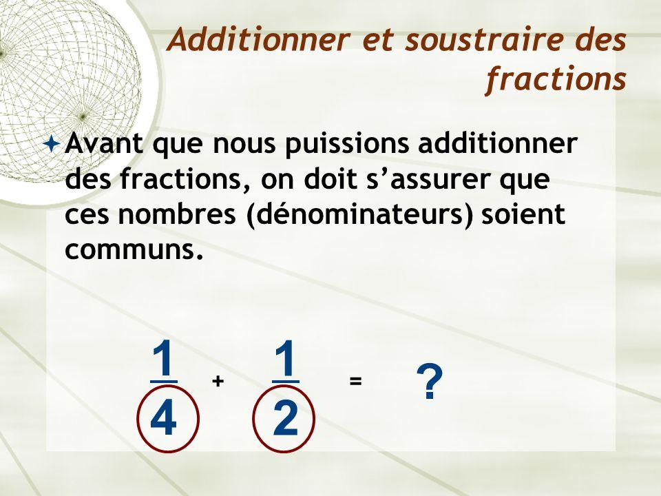  Avant que nous puissions additionner des fractions, on doit s'assurer que ces nombres (dénominateurs) soient communs. Additionner et soustraire des