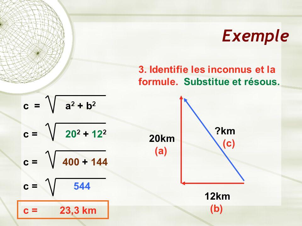 Exemple 3. Identifie les inconnus et la formule. Substitue et résous. c = a 2 + b 2 c = 20 2 + 12 2 c = 400 + 144 c = 544 c = 23,3 km 12km (b) 20km (a