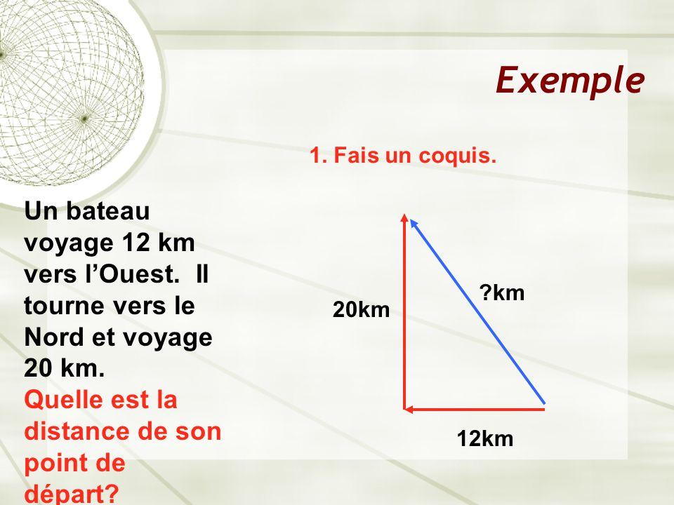 Exemple Un bateau voyage 12 km vers l'Ouest.Ensuite tourne et voyage 20 km vers le Nord.