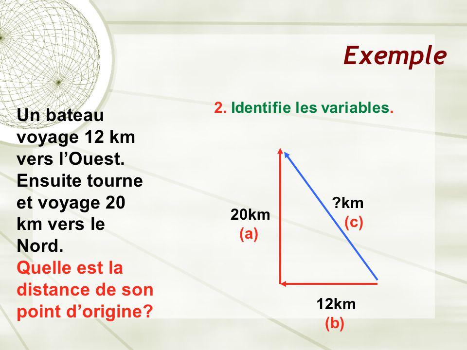 Exemple Un bateau voyage 12 km vers l'Ouest. Ensuite tourne et voyage 20 km vers le Nord.