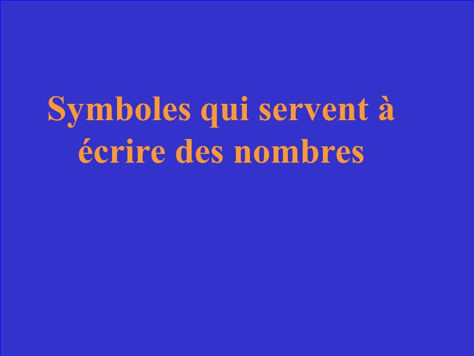 Symboles qui servent à écrire des nombres