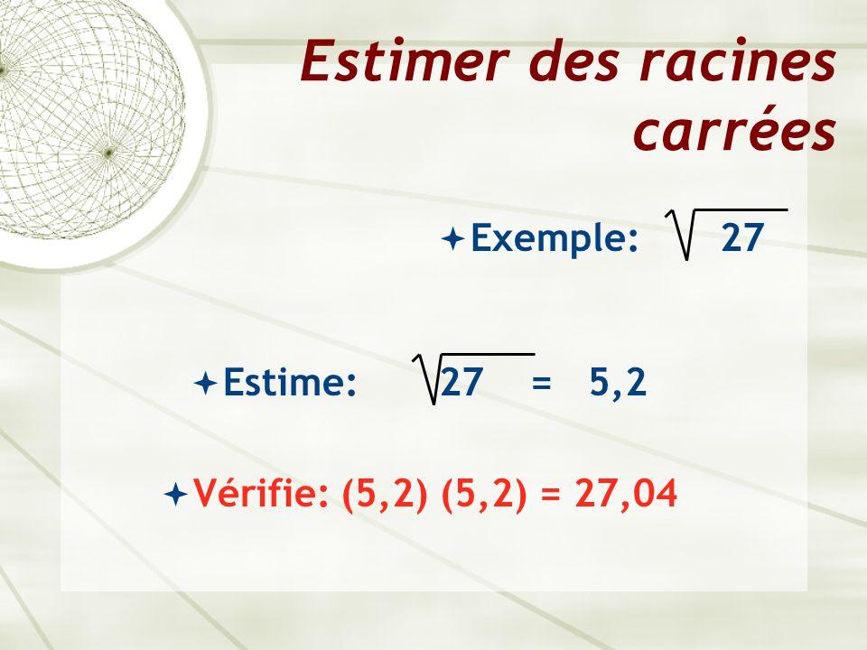 Estimer des racines carrées  Exemple: 27  Estime: 27 = 5,2  Vérifie: (5,2) (5,2) = 27,04