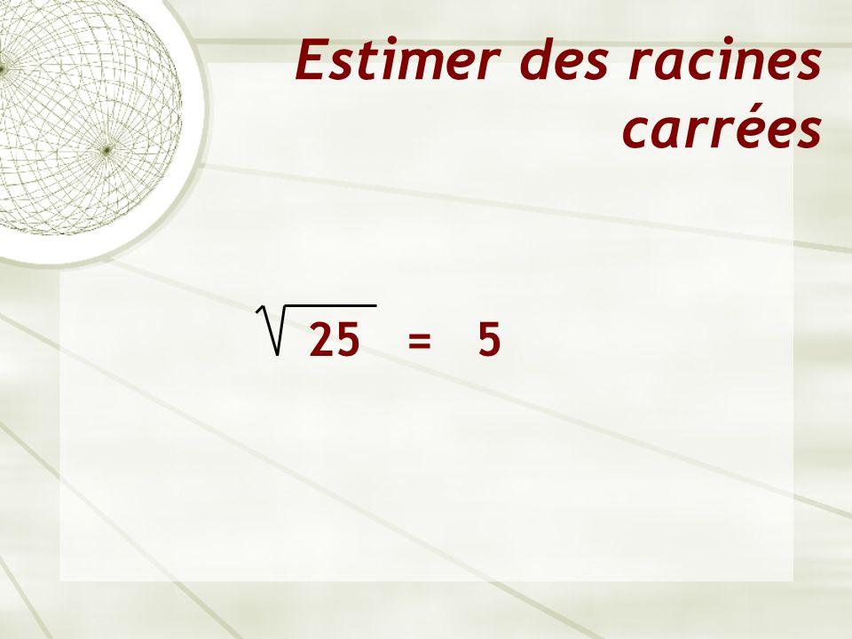 Estimer des racines carrées 25 = 5