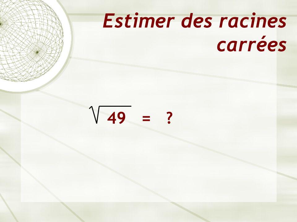 Estimer des racines carrées 49 =