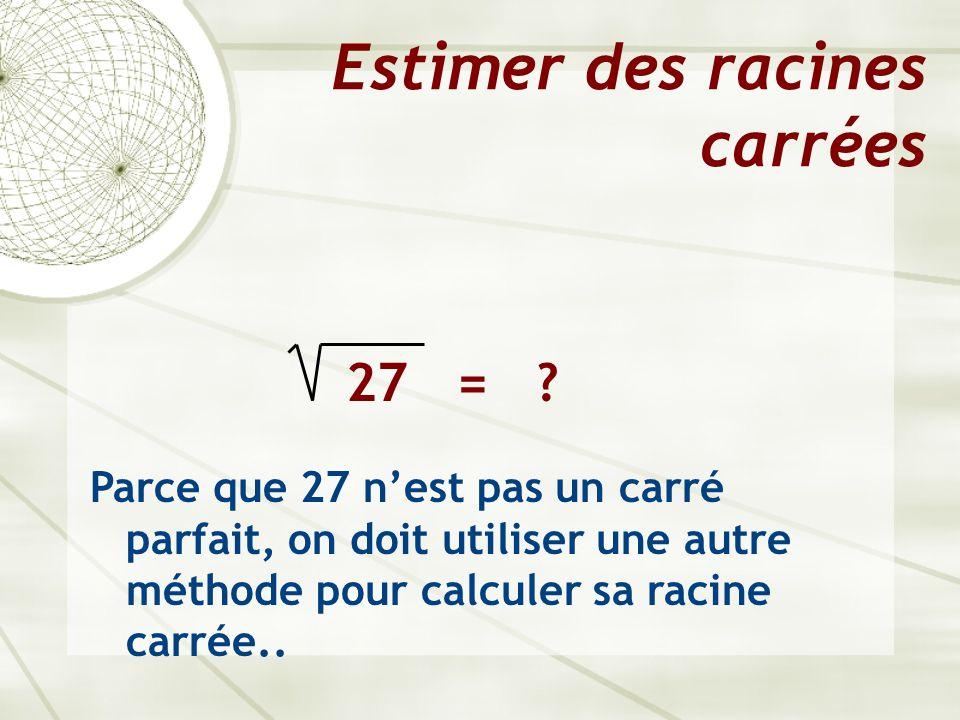 Estimer des racines carrées  Pas touts les nombres sont des carrés parfaits.