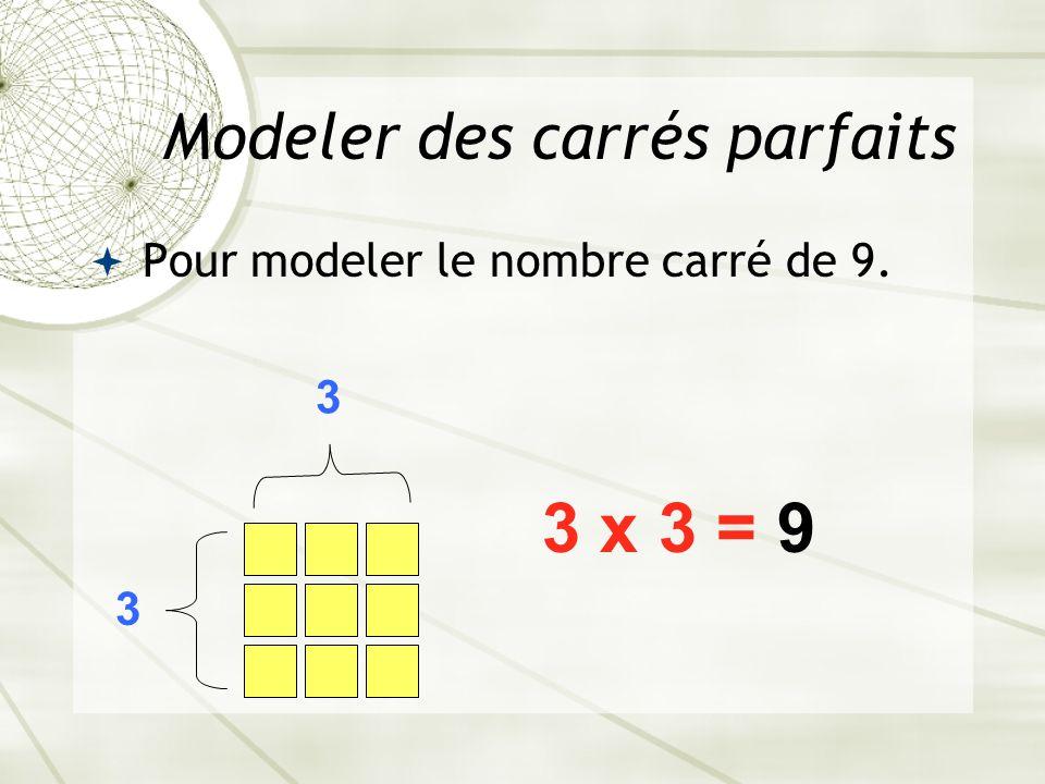 Modeler des carrés parfaits  Pour modeler le nombre carré de 9. 3 3 3 x 3 = 9