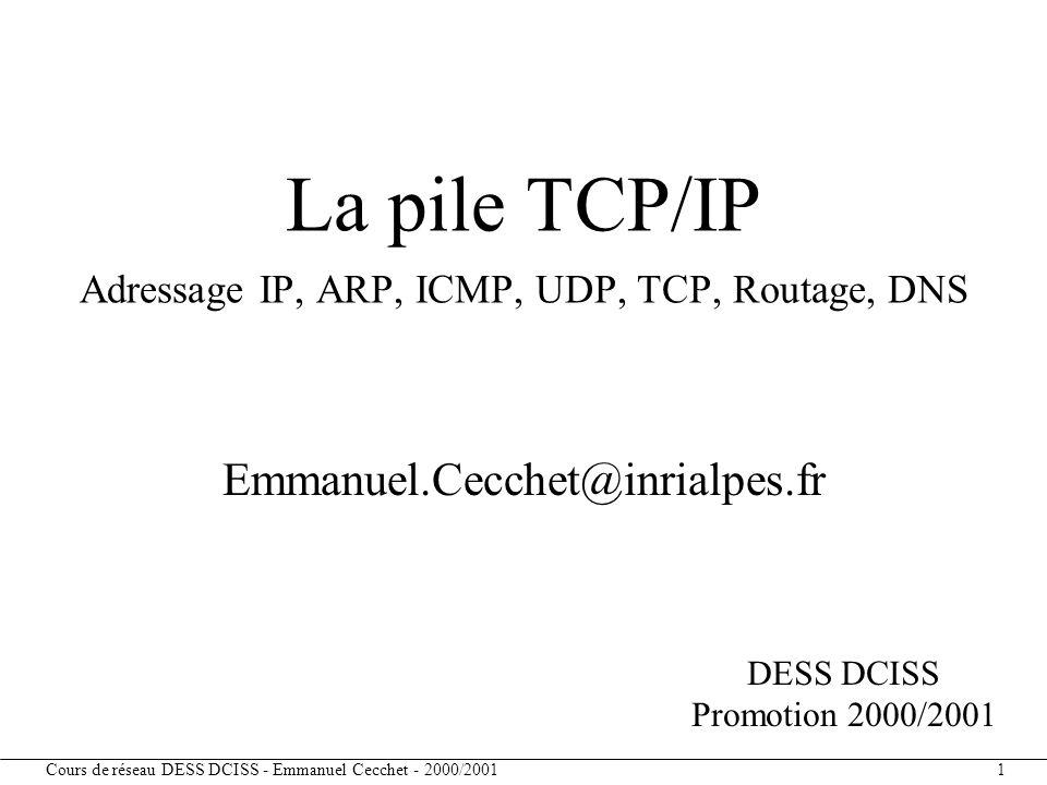 Cours de réseau DESS DCISS - Emmanuel Cecchet - 2000/2001 12 Utilisation des bits d'identificateur de machines pour identifier des sous-réseaux Exemple : Réseau de classe B 140.30 –autorise 254 réseaux de 254 machines –masque de réseau classe B : 255.255.0.0 –masque de sous-réseau : 255.255.255.0 –si (@IP_dest & masque == mon@IP & masque) alors envoi_direct (datagramme, @IP_dest) sinon envoi_indirect(datagramme, @IP_dest, routeur(@IP_dest & masque)) Adressage de sous-réseau Id réseau 16 bits 140.30 Id sous- réseau 8 bits Id machine 8 bits