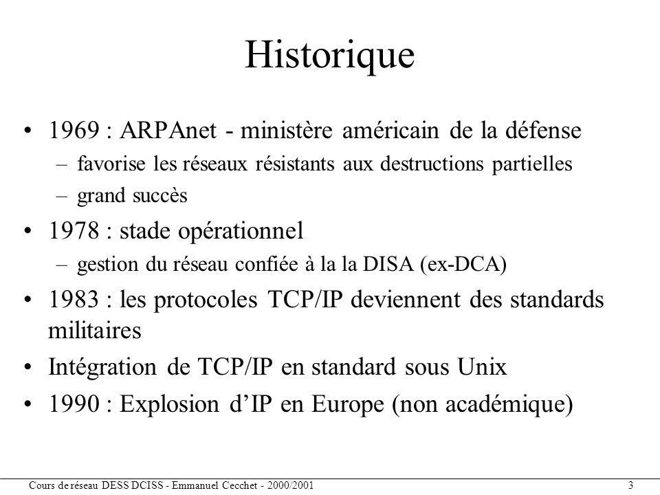 Cours de réseau DESS DCISS - Emmanuel Cecchet - 2000/2001 4 Sources d'information RFC : Request For Comments –tous les standards Internet –source (via ftp) sur nic.ddn.mil (copie à ftp.inria.fr) FYI : For Your Information W.