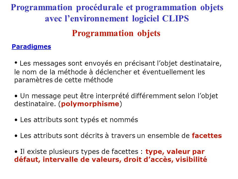 Programmation procédurale et programmation objets avec l'environnement logiciel CLIPS Les messages sont envoyés en précisant l'objet destinataire, le nom de la méthode à déclencher et éventuellement les paramètres de cette méthode Un message peut être interprété différemment selon l'objet destinataire.