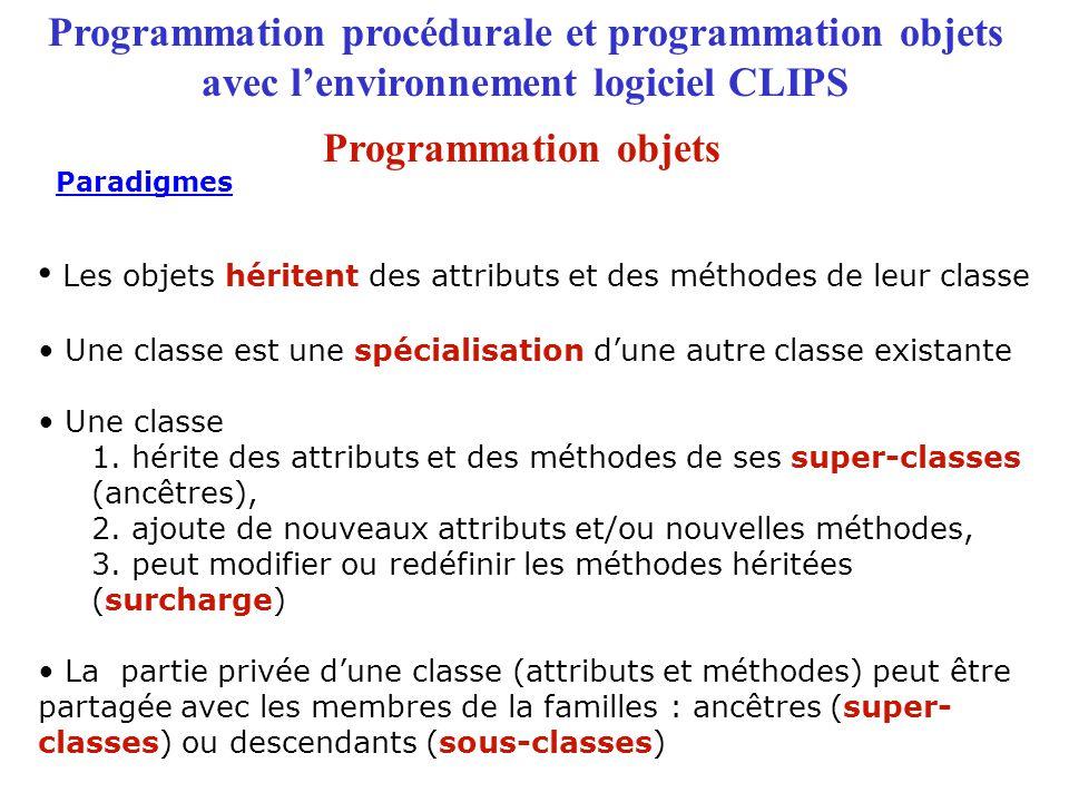 Programmation procédurale et programmation objets avec l'environnement logiciel CLIPS Les objets héritent des attributs et des méthodes de leur classe Une classe est une spécialisation d'une autre classe existante Une classe 1.