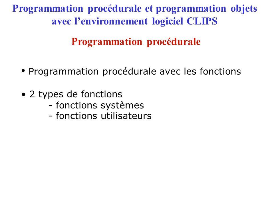 Appels de fonction ou Expressions Affichage du résultat des appels Programmation procédurale et programmation objets avec l'environnement logiciel CLIPS Exemple d'appels de fonctions système Programmation procédurale