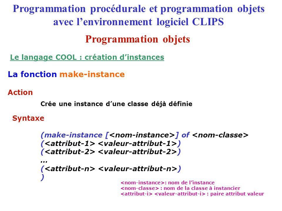 Crée une instance d'une classe déjà définie (make-instance [ ] of ( ) … ( ) ) Action Syntaxe Programmation procédurale et programmation objets avec l'environnement logiciel CLIPS La fonction make-instance Le langage COOL : création d'instances : nom de l'instance : nom de la classe à instancier : paire attribut valeur Programmation objets