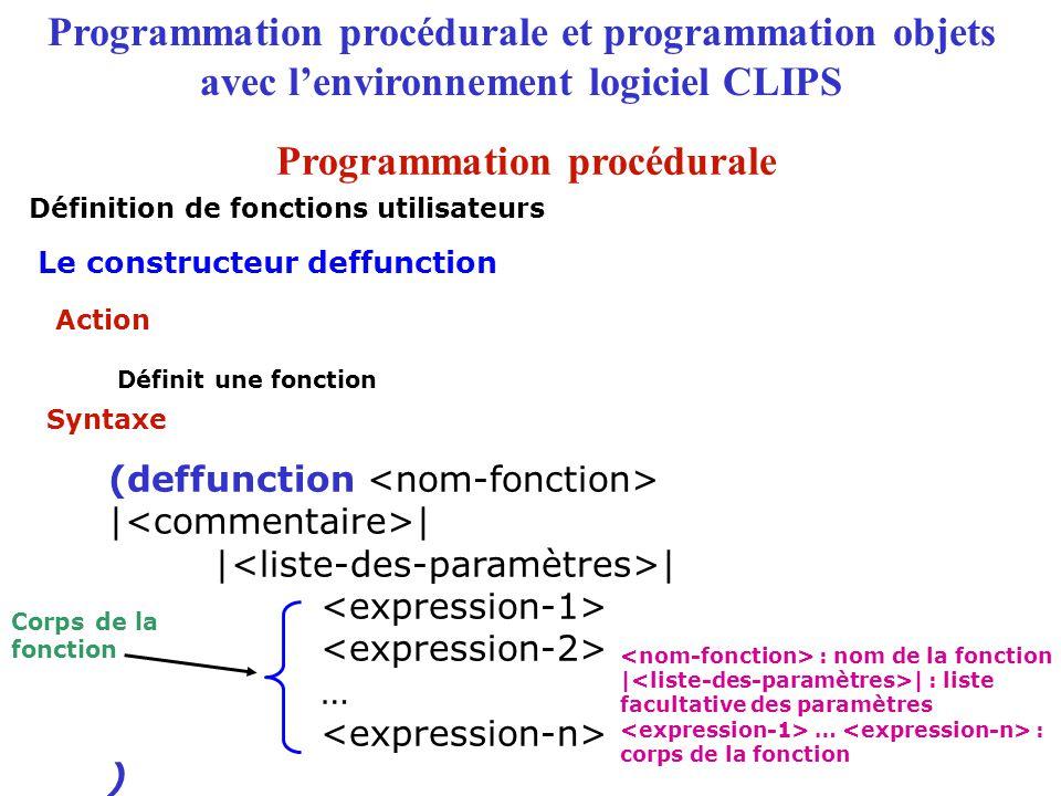 Programmation procédurale et programmation objets avec l'environnement logiciel CLIPS Spécifie le lien d'héritage d'une classe (is-a ) (is-a (USER)) : nom de la super-classe directe : classe système ou classe utilisateur Le constructeur defclass : lien dhéritage is-a Syntaxe Le langage COOL : définition des classes Action Exemple Programmation objets
