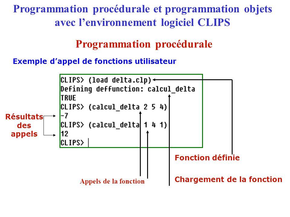 Programmation procédurale et programmation objets avec l'environnement logiciel CLIPS Programmation objets Le langage objet COOL (CLIPS Oriented Object Language) Approche de programmation OBJET + = Connaissances déclaratives Connaissances procédurales
