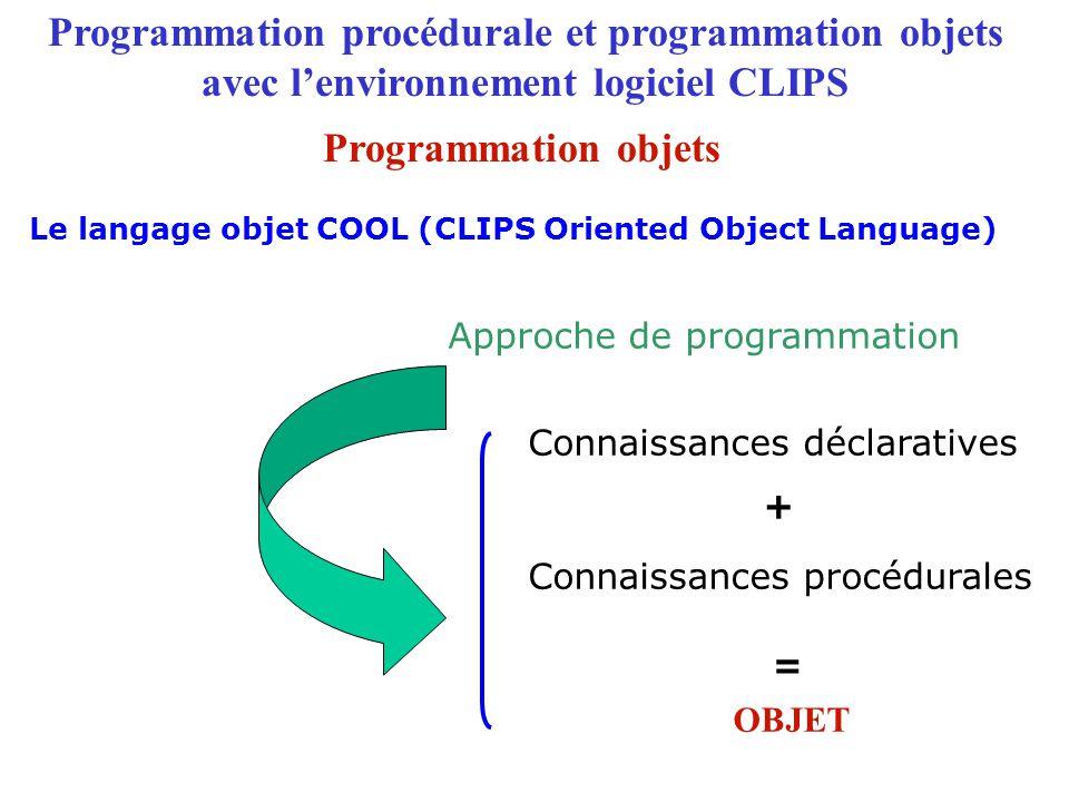 Rajouter à la liste des instances une collection d 'instances définie par definstances Programmation procédurale et programmation objets avec l'environnement logiciel CLIPS Le langage COOL : création d'instances Programmation objets