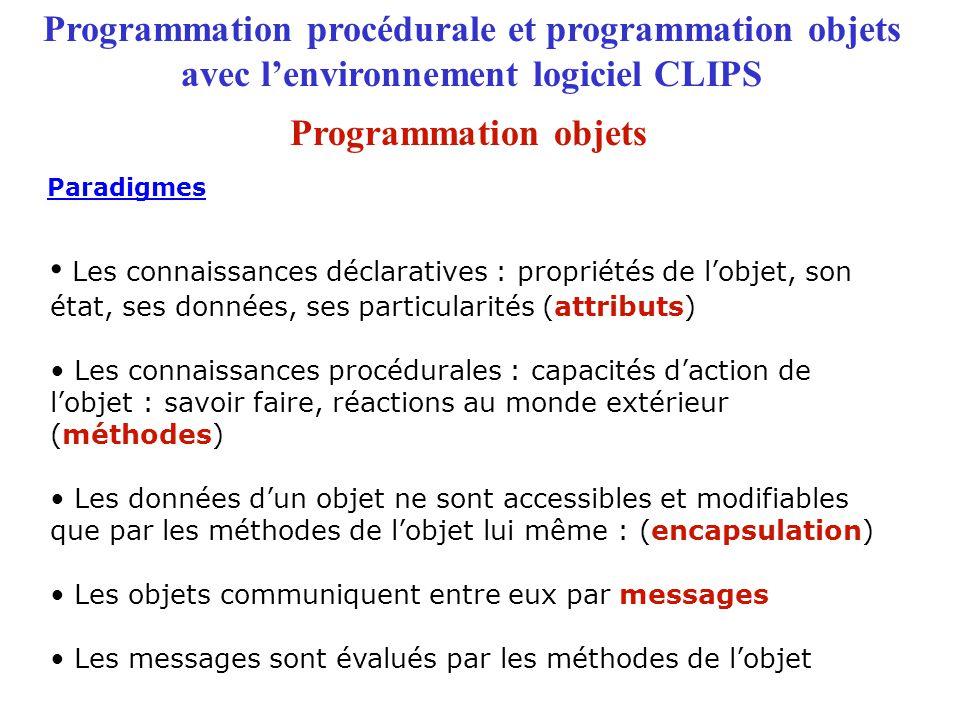 Programmation procédurale et programmation objets avec l'environnement logiciel CLIPS Paradigmes Les connaissances déclaratives : propriétés de l'objet, son état, ses données, ses particularités (attributs) Les connaissances procédurales : capacités d'action de l'objet : savoir faire, réactions au monde extérieur (méthodes) Les données d'un objet ne sont accessibles et modifiables que par les méthodes de l'objet lui même : (encapsulation) Les objets communiquent entre eux par messages Les messages sont évalués par les méthodes de l'objet Programmation objets