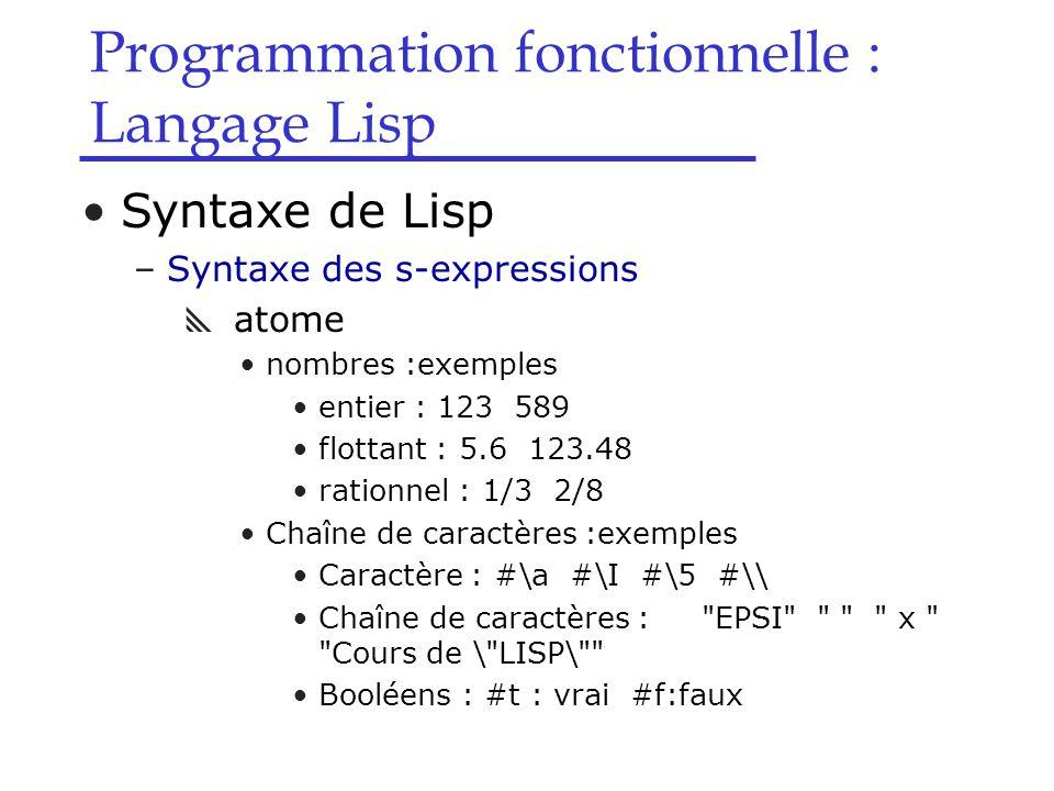 Programmation fonctionnelle : Langage Lisp Syntaxe de Lisp –Syntaxe des s-expressions  atome nombres :exemples entier : 123 589 flottant : 5.6 123.48 rationnel : 1/3 2/8 Chaîne de caractères :exemples Caractère : #\a #\I #\5 #\\ Chaîne de caractères : EPSI x Cours de \ LISP\ Booléens : #t : vrai #f:faux