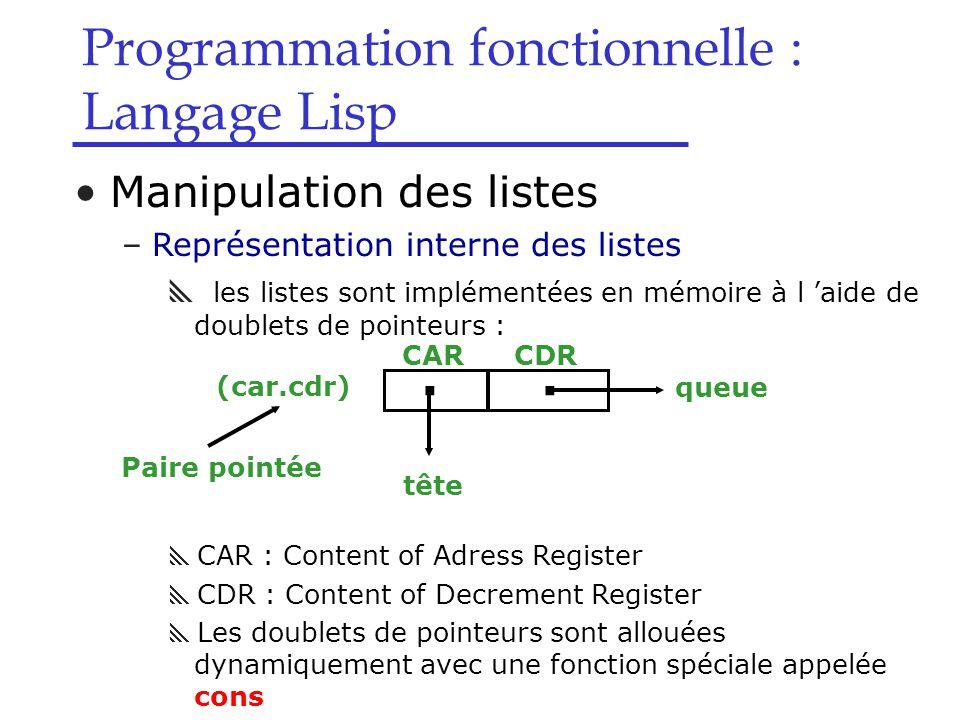 Programmation fonctionnelle : Langage Lisp Manipulation des listes –Représentation interne des listes  les listes sont implémentées en mémoire à l 'aide de doublets de pointeurs :  CAR : Content of Adress Register  CDR : Content of Decrement Register  Les doublets de pointeurs sont allouées dynamiquement avec une fonction spéciale appelée cons..