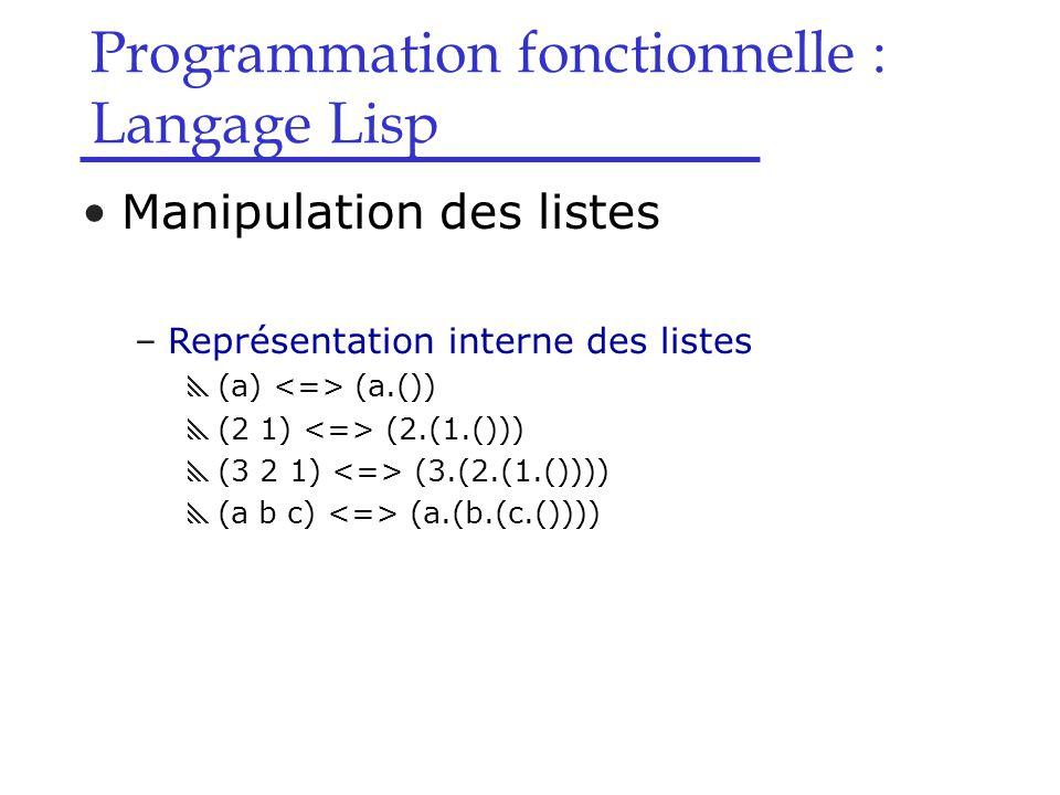 Programmation fonctionnelle : Langage Lisp Manipulation des listes –Représentation interne des listes  (a) (a.())  (2 1) (2.(1.()))  (3 2 1) (3.(2.(1.())))  (a b c) (a.(b.(c.())))