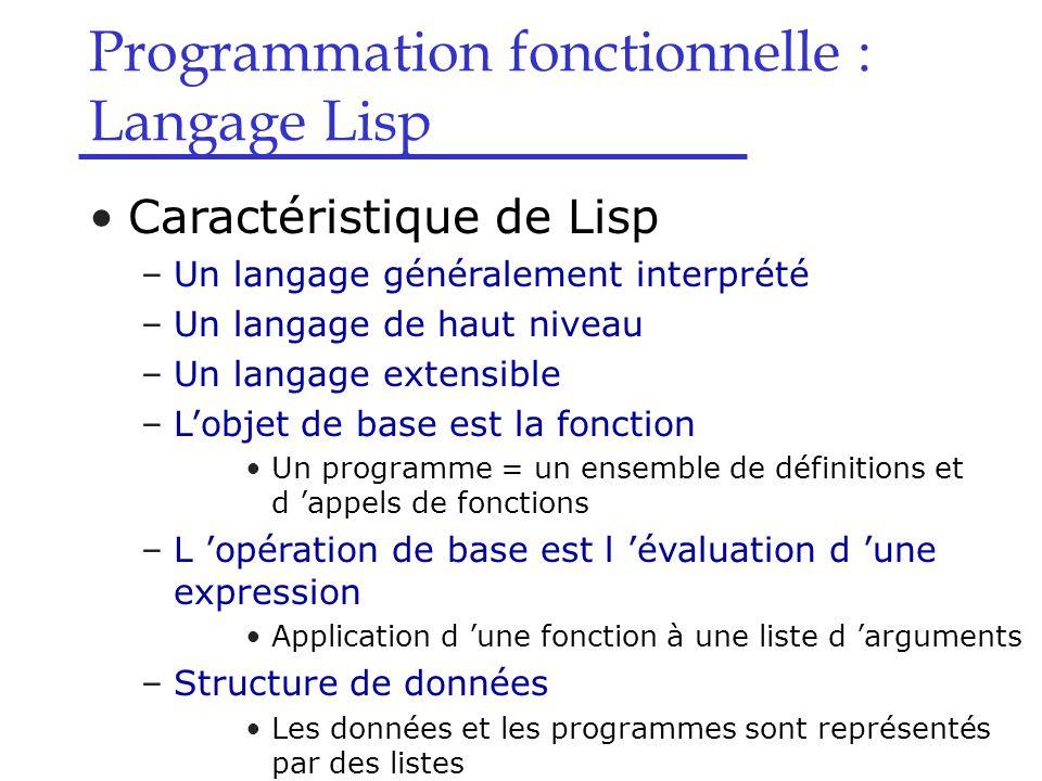 Caractéristiques de Lisp –Lisp manipule des données symboliques Donnée symbolique = s-expression –Lisp offre une approche objet de programmation Classes et fonctions génériques –Lisp est un langage interactif Boucle à trois temps(REPL:Read-Eval-Print Loop) read eval print Lecture d 'une expression symbolique (une s-expression) Évaluation de l 'expression Écriture du résultat (une s-expression)