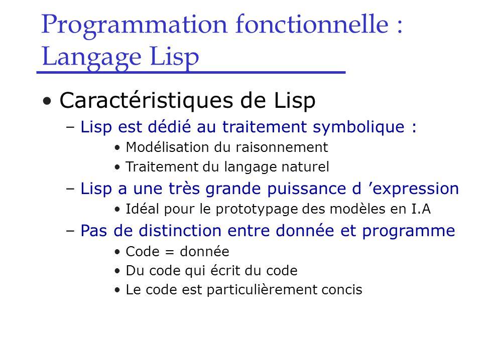 Programmation fonctionnelle : Langage Lisp Syntaxe de Lisp –Exemples de s-expressions #\Aatome de type caractèreconstante 100atome de type entier 7/8atome de type rationnelconstante #tatome TRUEconstante #f atome FALSEconstante NULL atome NULLconstante lisp atome de type chaîne de caractères constante epsiatome de type variablevariable (symbole) ()liste vide (())liste à 1 élément (* 5 6) liste à 3 éléments (janvier fevrier (mars avril) juin (septembre octobre)) liste à 5 éléments (define (carre x) (* x x)) liste à 3 éléments