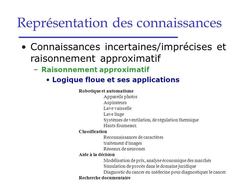 Connaissances incertaines/imprécises et raisonnement approximatif –Raisonnement approximatif Logique floue et ses applications Robotique et automatism