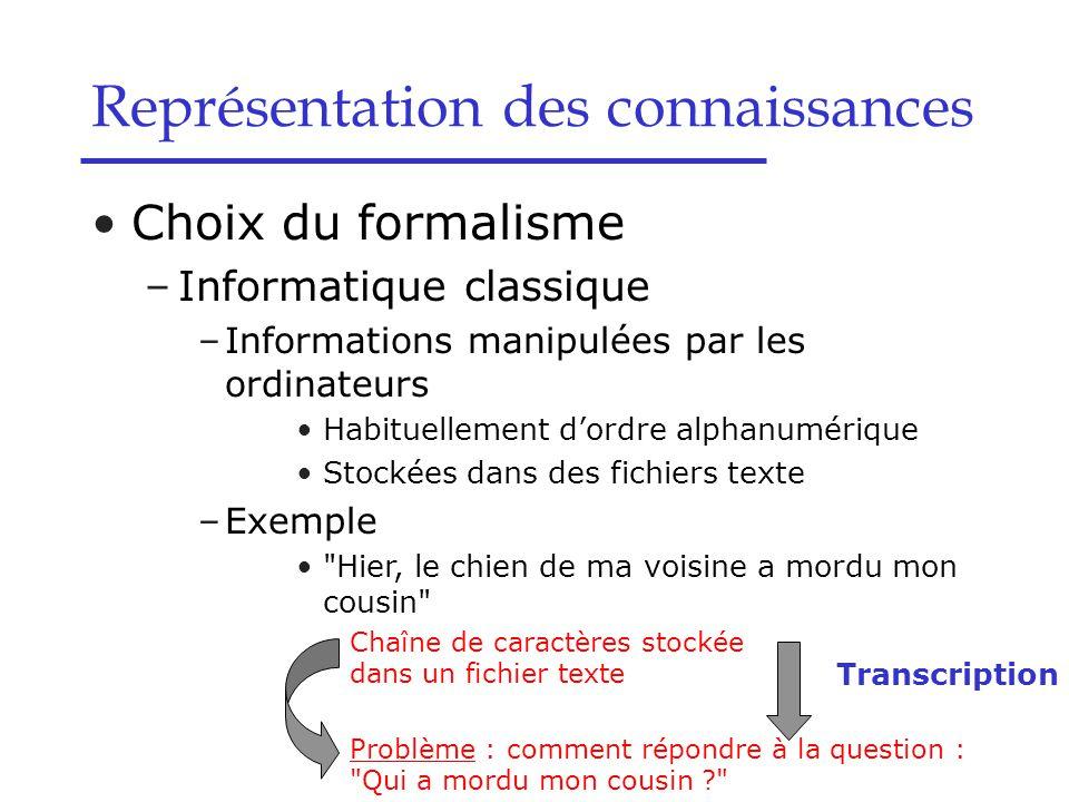 Choix du formalisme –Informatique classique –Informations manipulées par les ordinateurs Habituellement d'ordre alphanumérique Stockées dans des fichi