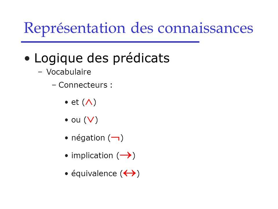 Logique des prédicats –Vocabulaire –Connecteurs : et (  ) ou (  ) négation (  ) implication (  ) équivalence (  ) Représentation des connaissance