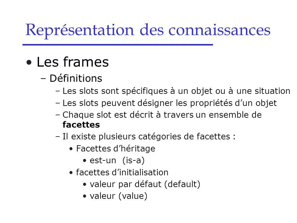 Les frames –Définitions –Les slots sont spécifiques à un objet ou à une situation –Les slots peuvent désigner les propriétés d'un objet –Chaque slot e