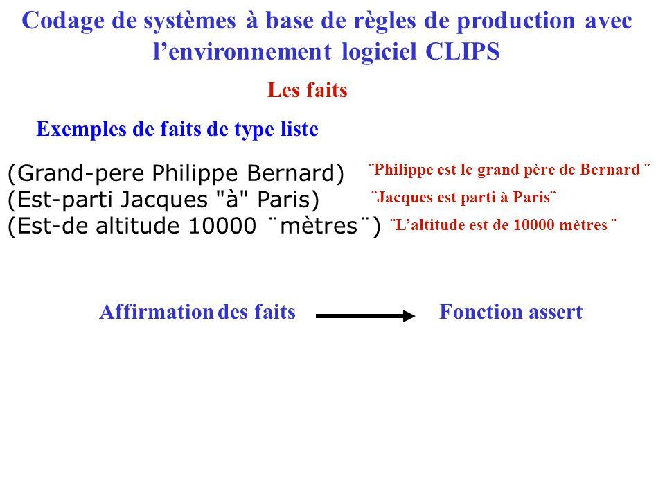 Codage de systèmes à base de règles de production avec l'environnement logiciel CLIPS (Grand-pere Philippe Bernard) (Est-parti Jacques