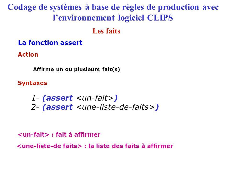 Codage de systèmes à base de règles de production avec l'environnement logiciel CLIPS La fonction assert Syntaxes 1- (assert ) 2- (assert ) Affirme un