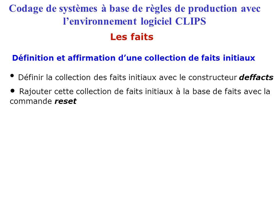 Codage de systèmes à base de règles de production avec l'environnement logiciel CLIPS Définition et affirmation d'une collection de faits initiaux Les