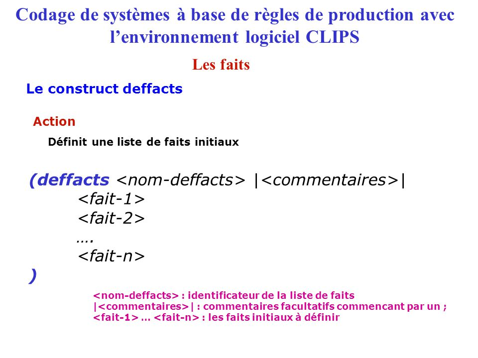 Codage de systèmes à base de règles de production avec l'environnement logiciel CLIPS (deffacts | | …. ) Action Définit une liste de faits initiaux :