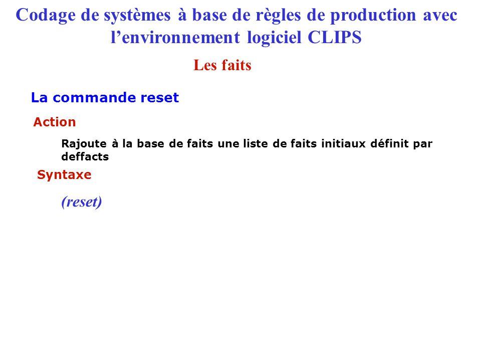 Codage de systèmes à base de règles de production avec l'environnement logiciel CLIPS Syntaxe (reset) Action Rajoute à la base de faits une liste de f