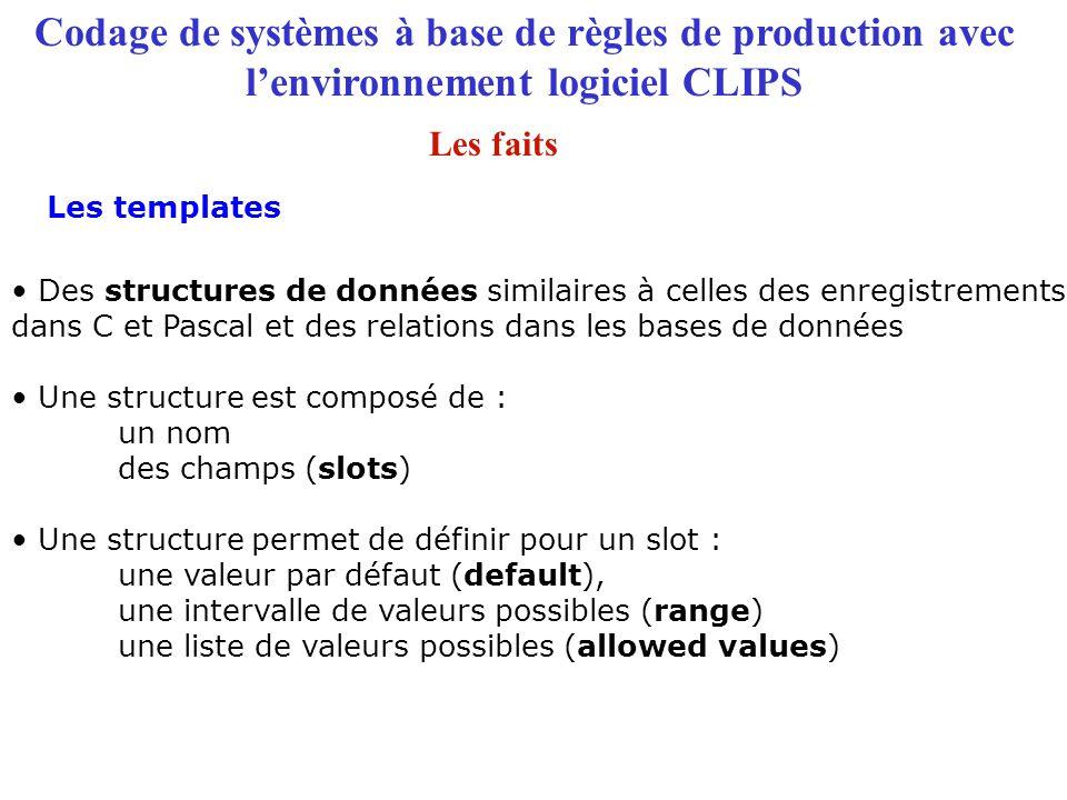 Codage de systèmes à base de règles de production avec l'environnement logiciel CLIPS Les templates Les faits Des structures de données similaires à c