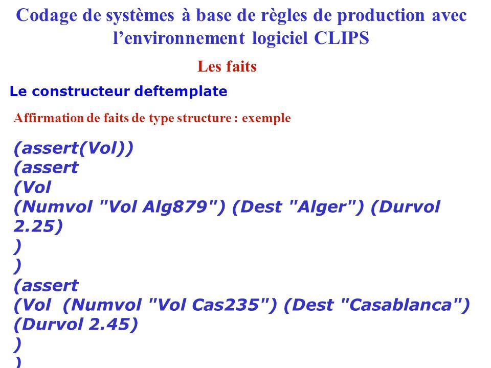 Codage de systèmes à base de règles de production avec l'environnement logiciel CLIPS Le constructeur deftemplate Les faits (assert(Vol)) (assert (Vol