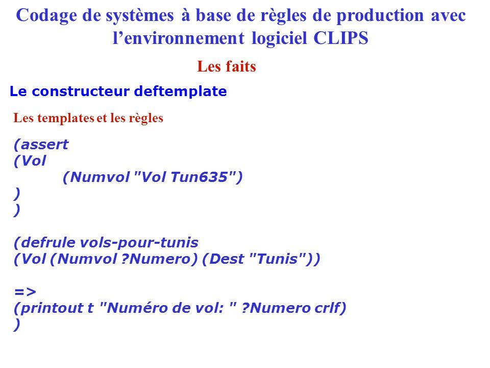 Codage de systèmes à base de règles de production avec l'environnement logiciel CLIPS (assert (Vol (Numvol