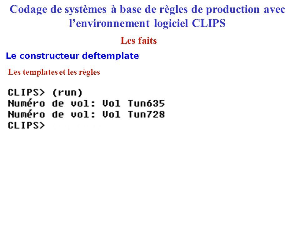 Codage de systèmes à base de règles de production avec l'environnement logiciel CLIPS Le constructeur deftemplate Les faits Les templates et les règle