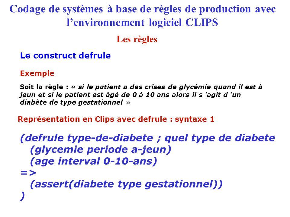 Codage de systèmes à base de règles de production avec l'environnement logiciel CLIPS Le construct defrule Représentation en Clips avec defrule : synt