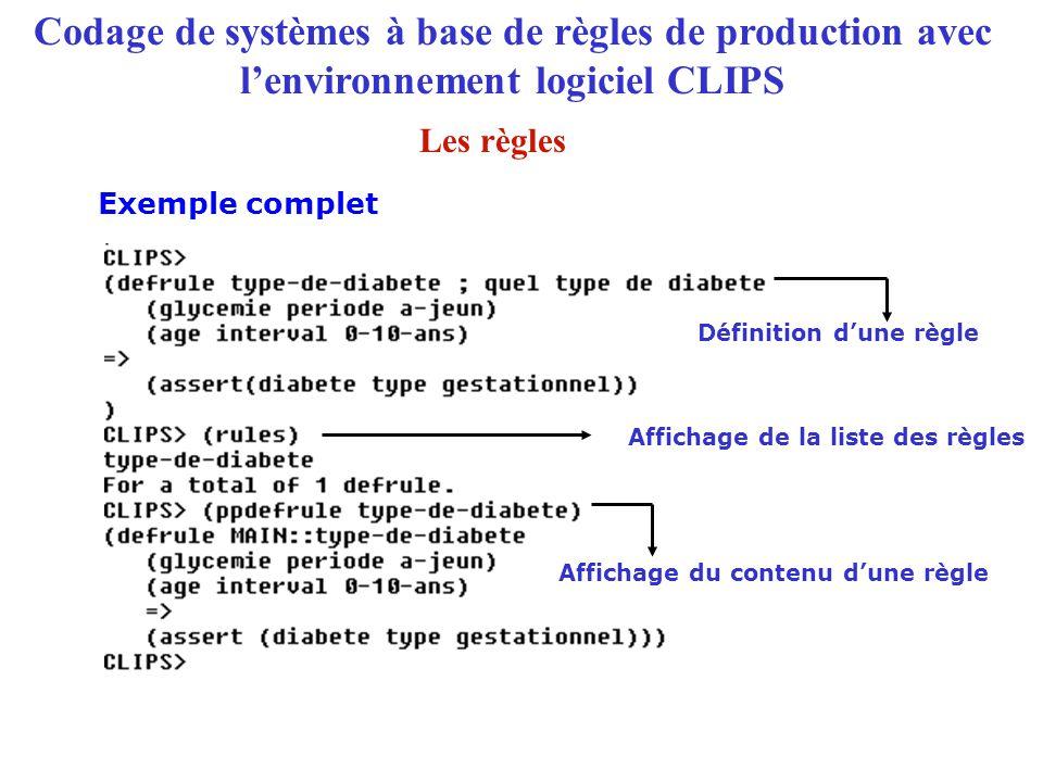 Codage de systèmes à base de règles de production avec l'environnement logiciel CLIPS Exemple complet Définition d'une règle Affichage de la liste des