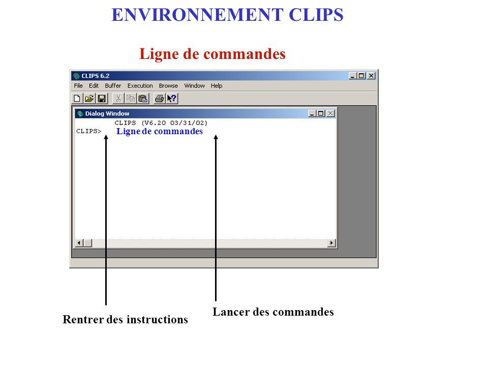 Codage de systèmes à base de règles de production avec l'environnement logiciel CLIPS La commande rules Syntaxe (rules) Action Affiche la liste des règles La commande ppdefrule Syntaxe (ppdefrule ) Action Affiche le contenu d'une règle : nom de la règle à afficher Les règles
