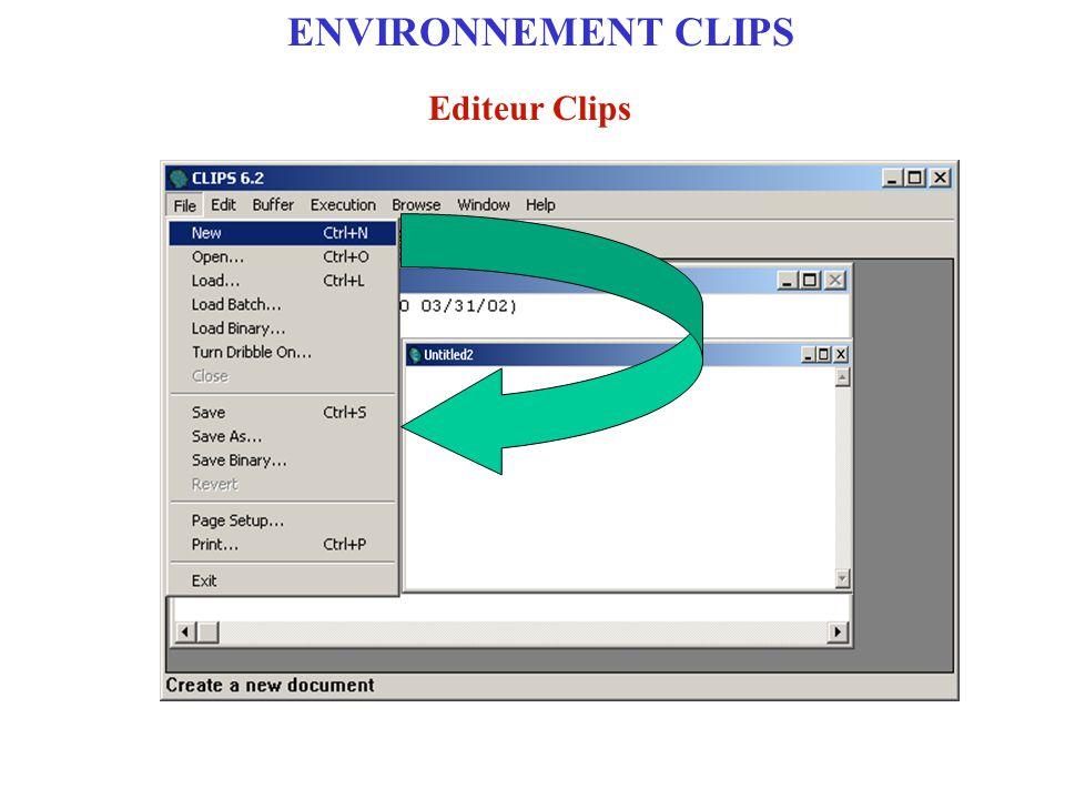 Etape 1 : Ecrire et enregistrer le programme avec l'éditeur Clips File/Save as extensions (.clp) (.bat) Enregistrer le programme ENVIRONNEMENT CLIPS Mise en oeuvre de programmes Code Clips
