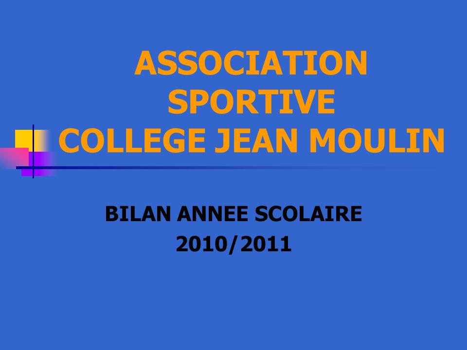 ASSOCIATION SPORTIVE COLLEGE JEAN MOULIN BILAN ANNEE SCOLAIRE 2010/2011